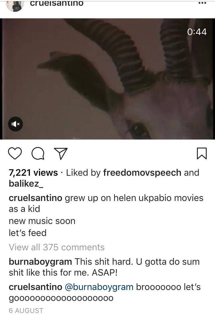 BurnaBoy's comment on the trailer