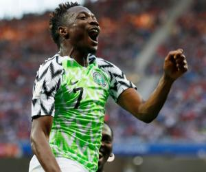 Nigerian footballer Ahmed Musa cheered by ecstatic fans in Saudi Arabia